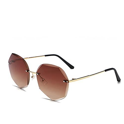 MVAOHGN Fashionless Degradado de la Moda Gafas de Sol de Las Mujeres de la Marca de la Marca Sombras de Corte de la Lente de Corte de Metal Vintage Gafas de Sol (Lenses Color : C3)