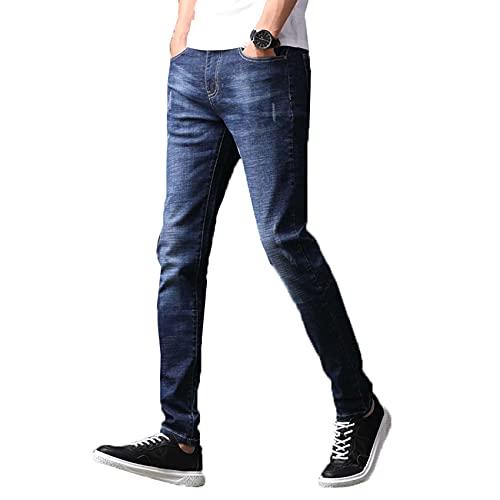 WJANYHN Pantalones Vaqueros para Hombre Pantalones de Mezclilla de Cintura Media para Hombre Pantalones Casuales de Talla Grande a la Moda