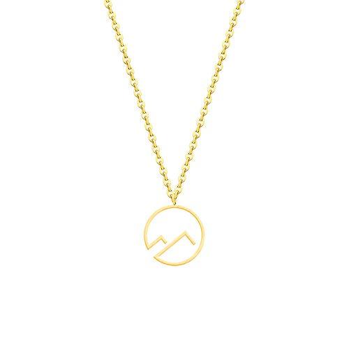 Collares Collares de una sola montaña en forma de triángulo doble para mujer, joyería de moda, regalos para hermanas.