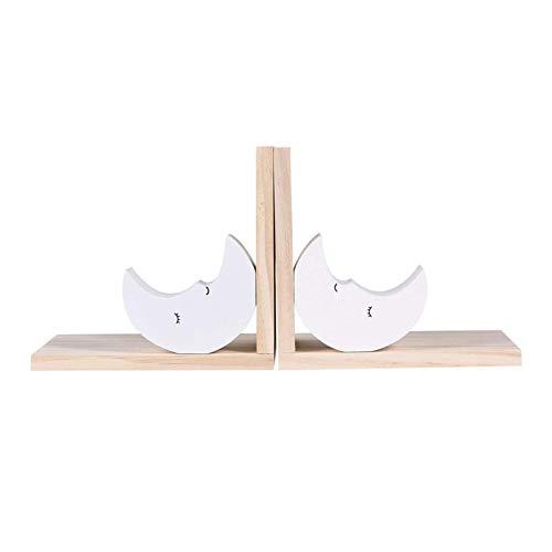 Gaohm Extremos de Libro, Sujetalibros de Madera Tapón de Libro Moon Kids Sujetalibros para Amantes de los Libros Niña Princesa Decoración de la habitación 1 par Blanco,