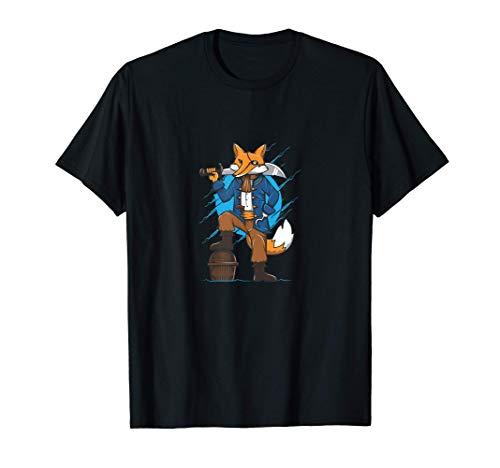 Zorro pirata con un cofre Camiseta