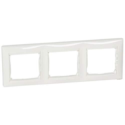 Placa marco enchufe de 3 elementos horizontal, modelo Valena, color blanco, 6 x 24 x 8,5 centímetros (referencia: Legrand 774453)