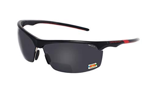 rainbow safety Sonnenbrille Polarisierte Bifokal Sportbrille mit Leseteil für Radler Baseball Laufen Angeln Golf Softball Wandern PRO P (BLK-RED +3.00D)