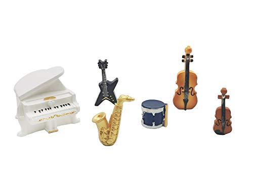 Exasinine 6 Pcs Resin Miniature Musical Instrument Set Mini Piano Violin Cello Saxophone Drum Electric Guitar Band Set for Dollhouse Accessories Succulent Garden