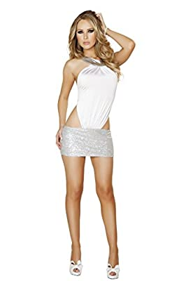 Roma Women's Mini Dress with Sequin Skirt, White/Silver, Large