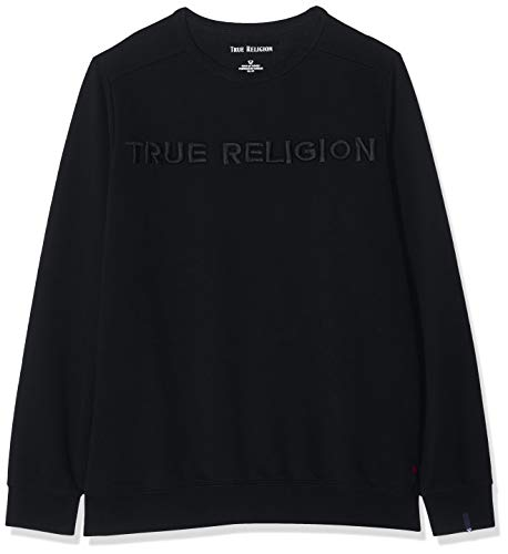 True Religion Herren Crew Sweat TR Sweatshirt, Schwarz (Black 1001), Medium (Herstellergröße: M)
