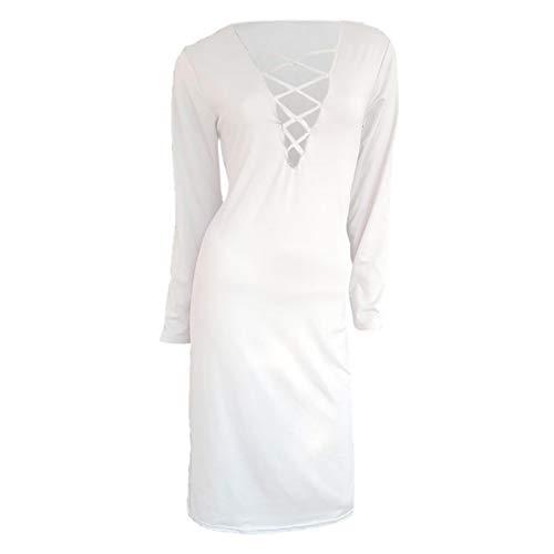 Jersey Suéter Sweater Vestido Largo De Suéter De Punto para Mujer Vestido Largo De Playa Dividido Alto Un Hombro Vestido Hueco De Manga Larga S Blanco