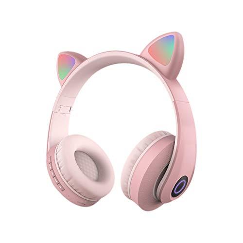 Auriculares inalámbricos Bluetooth con Orejas de Gato, Auriculares estéreo para Juegos en la Oreja con Control de Volumen del micrófono, luz LED, Plegables para teléfonos Inteligentes, Tableta, PC