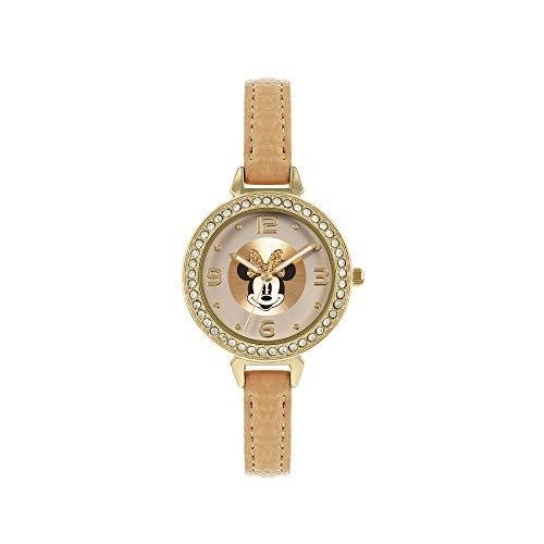 Disney Minnie MN5084 Armbanduhr, analog, klassisch, Quarz, braun/hellbraun