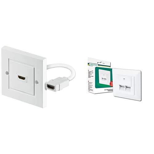 Wentronic 51722, Enchufe de Pared HDMI tipo A, Blanco + DIGITUS Professional Toma de pared red Cat 6 DN-9005-N 1 Gbit Montaje empotrable Instalación de cable horizontal