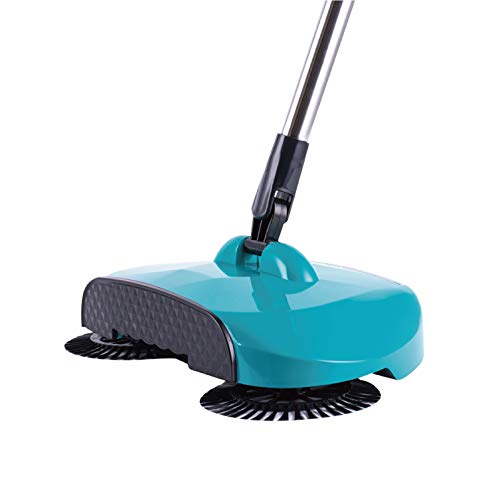 360°Broom Sweeper Collector Dust Cordless Spin Mop No Electricity Or Batteries,Hand-Push Broom,Broom and Dustpan,Scrub Sweep Dustbin All in One,Blue
