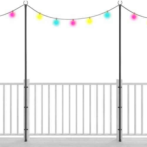 Holiday Styling String Light Poles for Outdoor Lighting - Set of 2, 110 Inch Pole & Bracket Kit for Deck Fence or Patio Railing - Hangers for Backyard LED Lights or Garden Plants