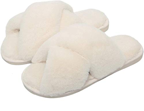Gainsera Pantofole Peluche Donna Ciabatte Pelose Donna Pantofole con Pelliccia Ciabatte da Casa Comode Invernali Moda Scarpe, 328 Bianca 35/36 EU