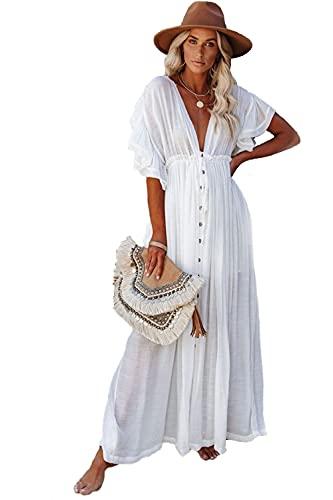 BRONG - Abito da spiaggia da donna, estetico, kimono, cardigan lungo, bianco, Taglia unica