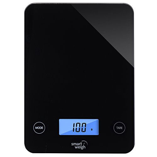 Smart Weigh Digital Kitchen Scale with Glass Top, Audible Touch Buttons, 5-unit Modes, Liquid...