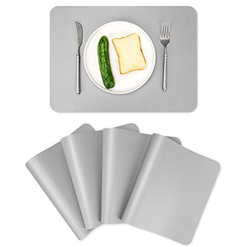 ALLONWAY 4er Set Platzsets, Tischsets PU Leder Abwaschbar rutschfest & Hitzebeständig Platzdeckchen für Esstisch, 45 * 32CM, Platz-Matten Wasserdicht für Küche, Einfach zu Säubern