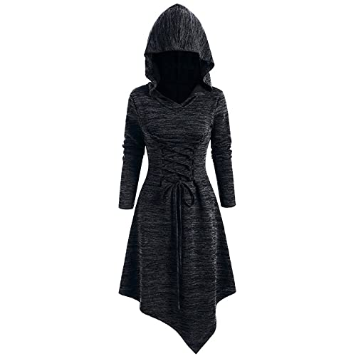 Aniywn Womens Renaissance Costumes Halloween Dress Hoodie Lace Up Medieval Cosplay Asymmetrical Midi Dresses with Hat Black
