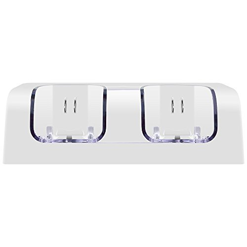 Cocare C7 Dual Wii Remote Charger Charging Station with 2 Rechargeable Batteries & LED Light for Wii Remote Control-White