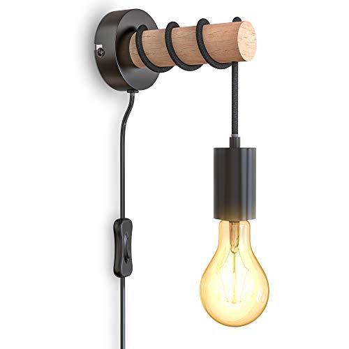 B.K.Licht I Wandlampe I 1 flammige Vintage Wandleuchte I Industrial Design I Retro Lampe I Stahl I Holz I Rund I E27 I ohne Leuchtmittel