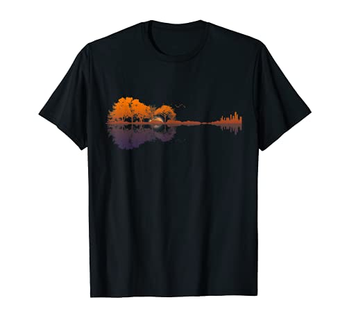 Guitar Lake Reflections Music and Guitar Lover Guitar T-Shirt