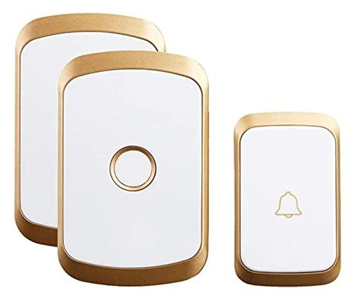 LGCTION Wireless Waterproof Doorbell 300M Remote US EU UK AU Plug LED Flash Home Cordless Door Bell (Color : Gold)
