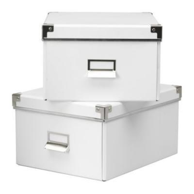 KASSETT 書類用ボックス ふた付き 2ピース / ホワイト[イケア]IKEA