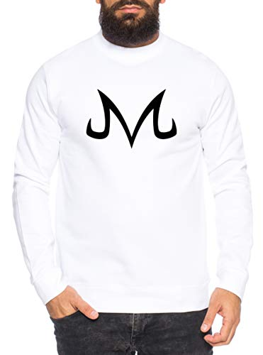 Sambosa Majin Logo Sweat-Shirt pour Homme Son Dragon Master Ball Vegeta Turtle Roshi DB, Größe2:Small, Farbe2:Blanc