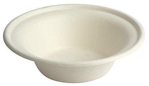 Super Rigid Disposable Paper Bowls Sugercane Biodegradable and Compostable White (340ml 50 Pcs)