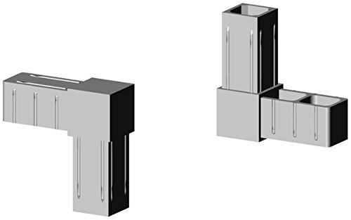 Winkelverbinder Kunststoff grau ähnl. RAL7035, Glasfaserverstärkt - für 20x20x1,5mm Aluminiumprofil Steckverbinder für Aluminiumprofile