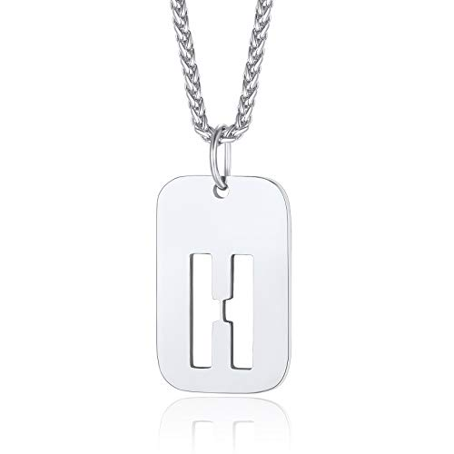 ChainsPro Letter Necklace for Men,Stainless Steel Dog Tag Necklace 22 inch Letter Chain Men Gifts