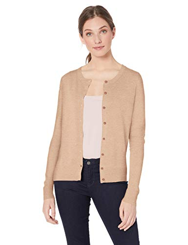 Amazon Essentials Damen-Strickjacke mit Rundhalsausschnitt, Brown (camel heather), US M (EU M-L)