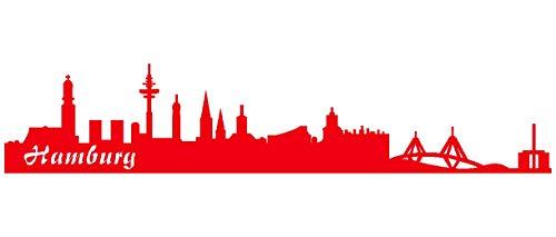 Samunshi® Wandtattoo Hamburg Skyline verschiedenen Größen und Farben lieferbar Wand Aufkleber in 8 Größen und 25 Farben (40x8cm hellrot)