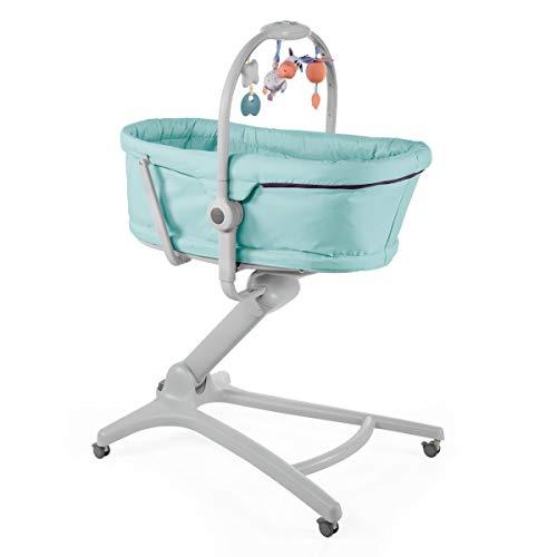 Chicco Baby Hug 4en1 Sistema multifunción: moisés, hamaca, trona y silla, regulable en altura, color azul turquesa (Aquarelle)