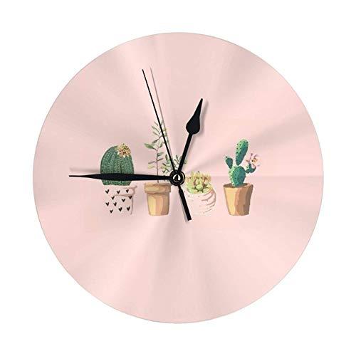 GOSMAO Reloj de Pared Redondo,Planetas Cactus,Reloj de Escritorio Reloj Decorativo para la Oficina de la Escuela en casa