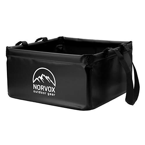 NORVOX Cuenco plegable para exteriores, cubo plegable para camping, 15 o 20 litros, universal, como recipiente para lavado, lavaplatos, cubo plegable o cubo de agua (negro noche – 20 L)