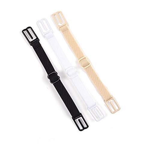 Deanyi 3Stk Non Slip BH Schultergurt verstellbare Riemen Halter elastische BH Bügel Clips |Schwarz, Weiß und Hautfarbe Kleidung