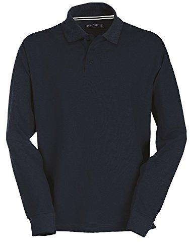 Payper Polo de manga larga para hombre, 100% algodón, 3 botones, para hombre azul marino XXXXXL