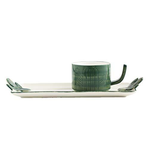 UPKOCH Teetasse Und Untertasse Set Keramik Kaffee Becher Cappuccino Tassen Kaktus Stil Wärme-Beständig für Latte Getränke Saft