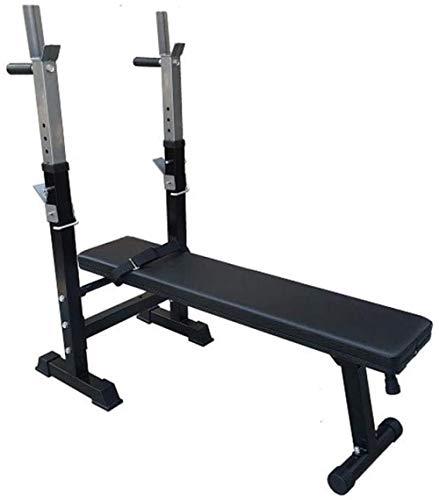 mjj Banco multifunción para levantamiento de pesas, banco plegable para sentadillas, barra paralela para la espalda, equipo de fitness para el hogar, color blanco