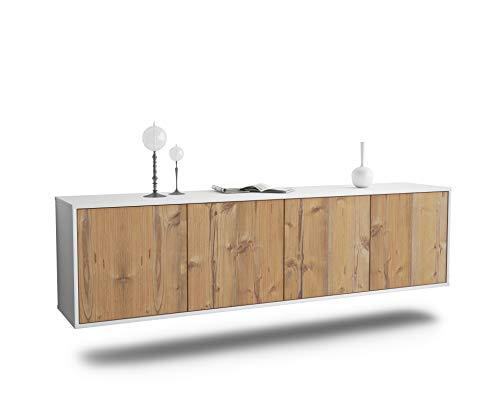 Dekati Lowboard Anaheim hängend (180x49x35cm) Korpus Weiss matt | Front Holz-Design Pinie | Push-to-Open