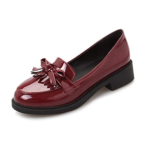 Erocalli Loafers for Women Round Toe Slip On Moccasins Driving Flats Soft Walking Shoes Red