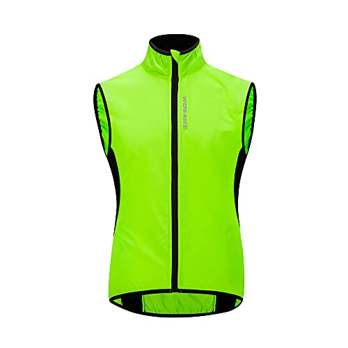 WOSAWE Gilet da ciclismo da uomo Leggero e traspirante all'aperto Corsa senza maniche Giacche per il tempo libero Abbigliamento sportivo(Verde XXL)