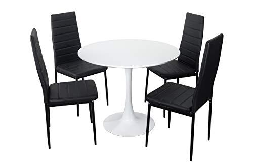 Noorsk Design Conjunto de Mesa y sillas de Cocina Zurich 90 + Clasik (Blanco-Negro)