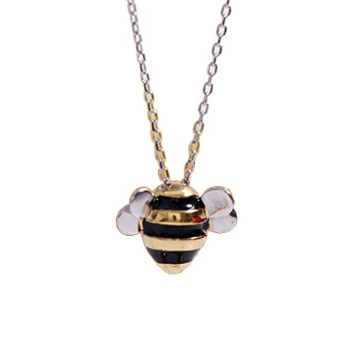jingmeizi Bee Pendant Necklace 925 Sterling Silver Fashion Creative Female Cute Jewelry