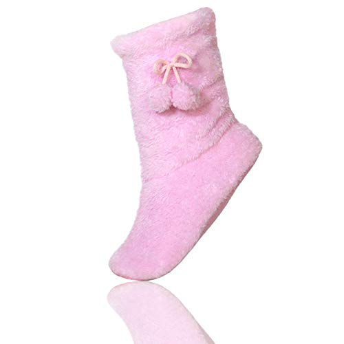 FRALOSHA Hüttensocken Damen Winter Warme Weich Boden Schuhe Stiefel Haussocken rutschfeste ABS Dicke Socken (25CM, Rosa)