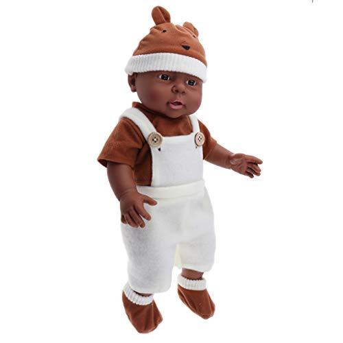 P Prettyia 41cm Dunkelhäutige Weichkörperpuppe Weichkörper Babypuppe Junge in Kleidung Puppen