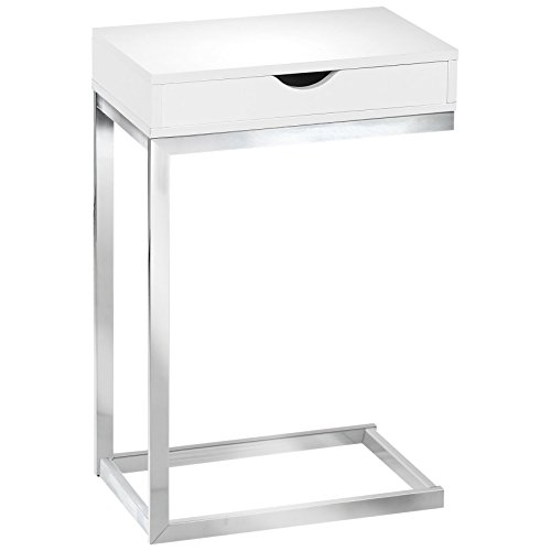 Monarch Specialties C Accent Table with Drawer-Chrome Metal Base, White