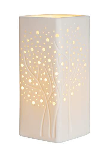 GILDE Lampe Baumgruppe - aus Porzellan mit Lochmuster im Prickellook H 27 cm