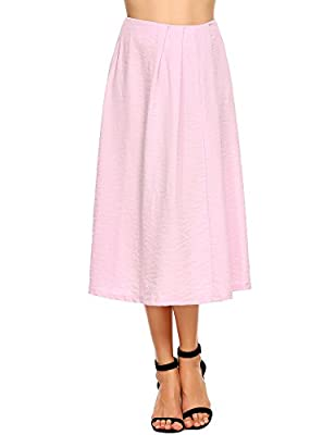 Zeagoo Women High Waist A-Line Full Midi Pleated Skirt