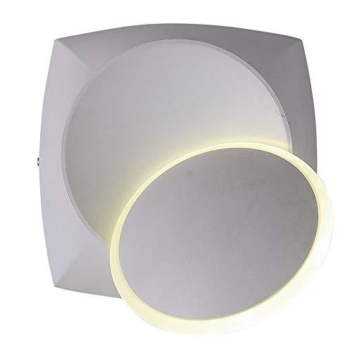 HDDD Nordic moderne, minimalistische wandlamp voor slaapkamer, woonkamer, balkon en nachtkastje, creatief design, draait aan de muur, LED-lantaarn (kleur: 7 W, wit licht)